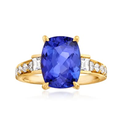 5.25 Carat Tanzanite and .64 ct. t.w. Diamond Ring in 18kt Yellow Gold