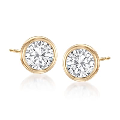 1.00 ct. t.w. Bezel-Set CZ Stud Earrings in 14kt Yellow Gold
