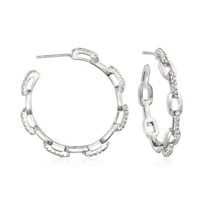.70 ct. t.w. CZ Paper Clip Link Open-Hoop Earrings in Sterling Silver