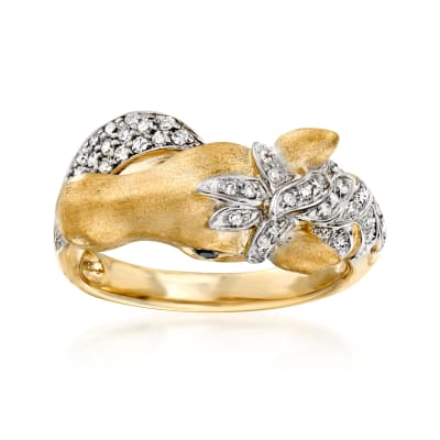 .29 ct. t.w. Diamond Horse Ring with Black Diamond Accents in 18kt Gold Over Sterling