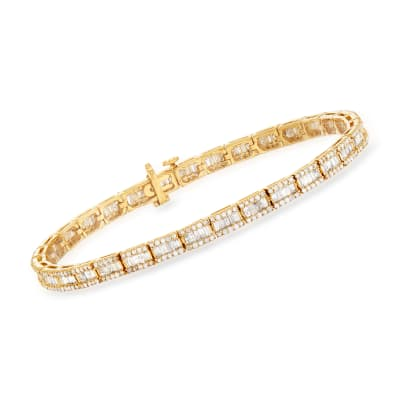 3.00 ct. t.w. Baguette and Round Diamond Bracelet in 18kt Gold Over Sterling