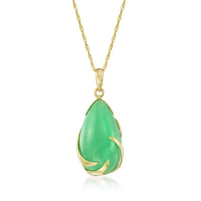Jade Teardrop Pendant Necklace in 14kt Yellow Gold