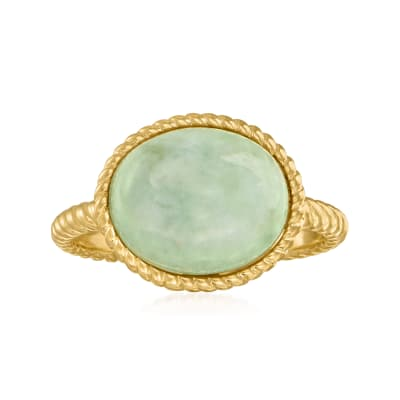 Jade Rope Ring in 18kt Gold Over Sterling