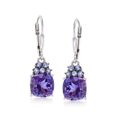 3.40 ct. t.w. Amethyst and .30 ct. t.w. Tanzanite Drop Earrings in Sterling Silver