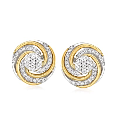 .25 ct. t.w. Diamond Swirl Stud Earrings in Sterling Silver and 14kt Yellow Gold