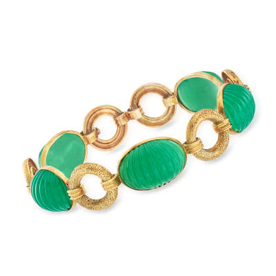 C. 1960 Vintage Green Chalcedony Bracelet in 14kt Yellow Gold