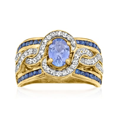 .80 Carat Tanzanite and .60 ct. t.w. Sapphire Ring with .30 ct. t.w. White Zircon in 18kt Gold Over Sterling