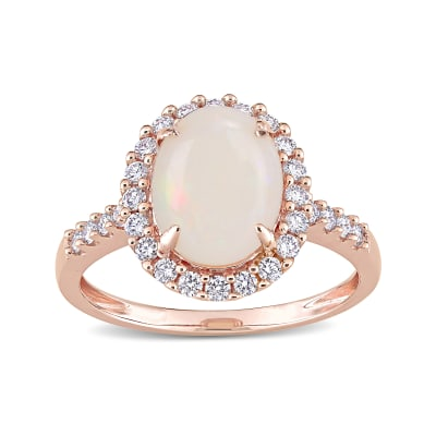 Opal and .42 ct. t.w. Diamond Halo Ring in 14kt Rose Gold