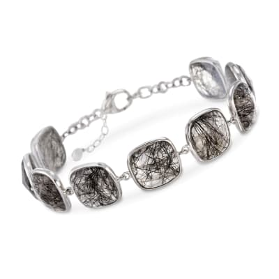 40.00 ct. t.w. Tourmalinated Quartz Station Bracelet in Sterling Silver