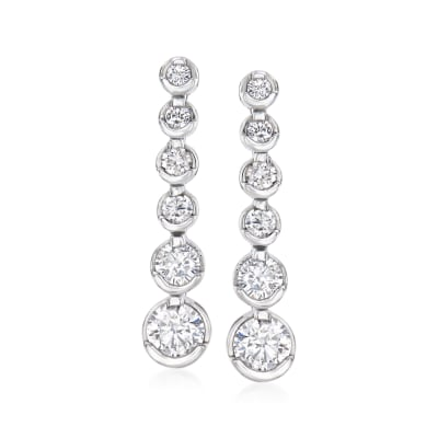 1.00 ct. t.w. Diamond Graduated Linear Drop Earrings in 14kt White Gold