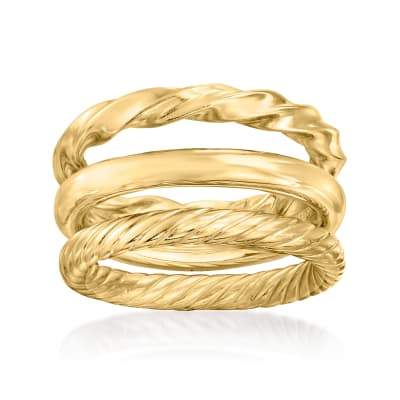 18kt Gold Over Sterling Jewelry Set: Three Polished Rings