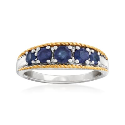 .80 ct. t.w. Sapphire Five-Stone Ring with Diamond Accents in Sterling Silver and 14kt Yellow Gold