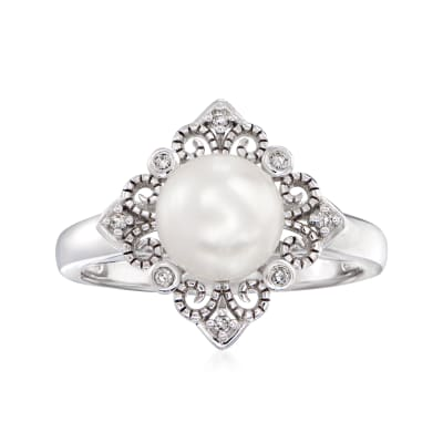 7.5-8mm Cultured Pearl Vintage-Style Ring with Diamond Accents in Sterling Silver