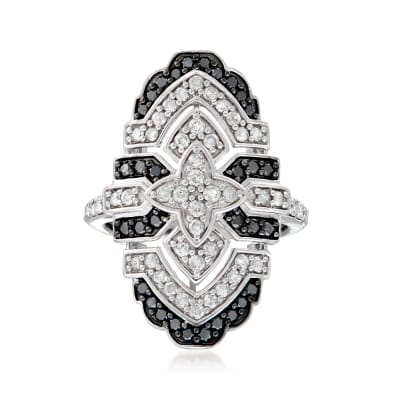 1.10 ct. t.w. Black and White Diamond Vintage-Style Ring in Sterling Silver