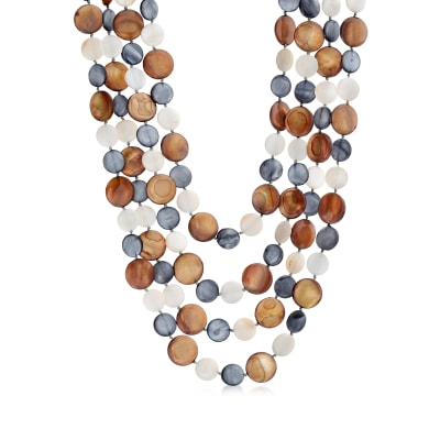 11-15mm Multicolored Mother-Of-Pearl Multi-Strand Necklace with Sterling Silver