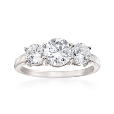 2.00 ct. t.w. CZ Three-Stone Ring in Sterling Silver