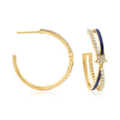 1.60 ct. t.w. White Topaz and Blue Enamel Star Hoop Earrings in 18kt Gold Over Sterling