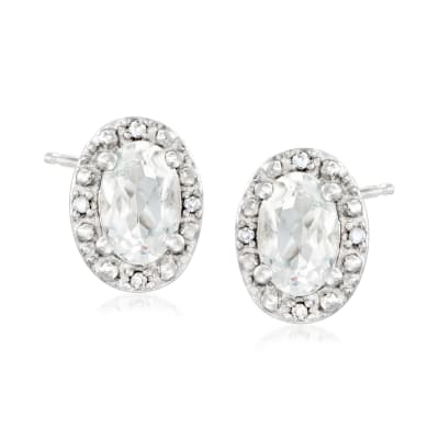 1.10 ct. t.w. White Topaz Stud Earrings with Diamond Accents in Sterling Silver