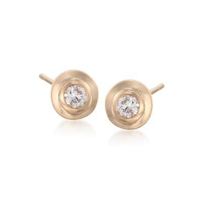 .12 ct. t.w. Double Bezel-Set Diamond Stud Earrings in 14kt Yellow Gold