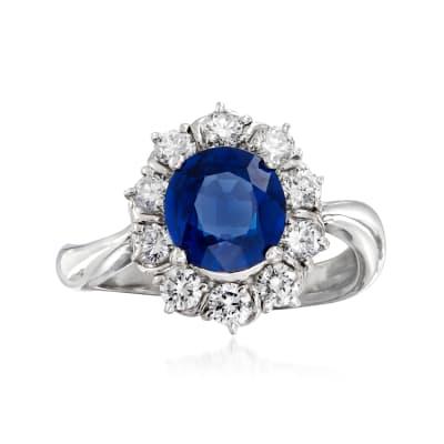 C. 2000 Vintage 1.84 Carat Sapphire and .66 ct. t.w. Diamond Ring in Platinum