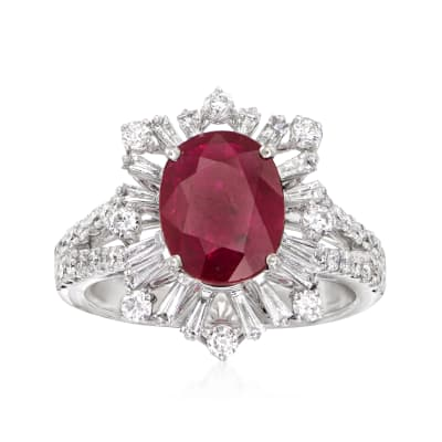 2.75 Carat Ruby and .98 ct. t.w. Diamond Burst Ring in 18kt White Gold