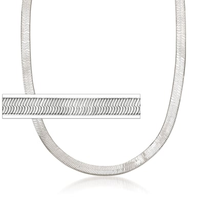 Italian 6mm Sterling Silver Herringbone Chain Necklace