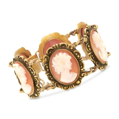C. 1970 Vintage Pink Shell Multi-Cameo Bracelet in 14kt Yellow Gold
