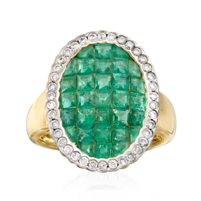 3.10 ct. t.w. Emerald and .38 ct. t.w. Diamond Ring in 14kt Yellow Gold