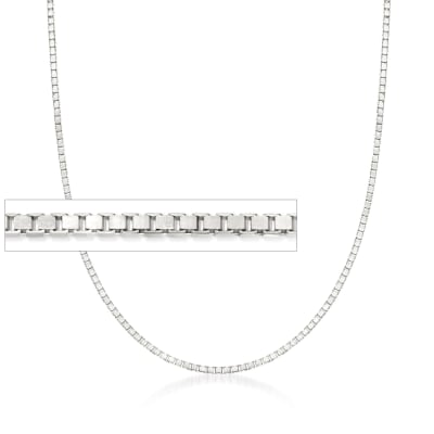 1.4mm 14kt White Gold Box Chain Necklace