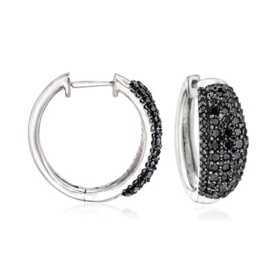 1.00 ct. t.w. Black Diamond Hoop Earrings in Sterling Silver