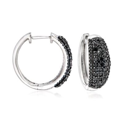 1.00 ct. t.w. Black Diamond Hoop Earrings in Sterling Silver