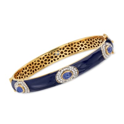 Blue Enamel, 3.70 ct. t.w. Tanzanite and 1.60 ct. t.w. White Zircon Bangle Bracelet in 18kt Gold Over Sterling