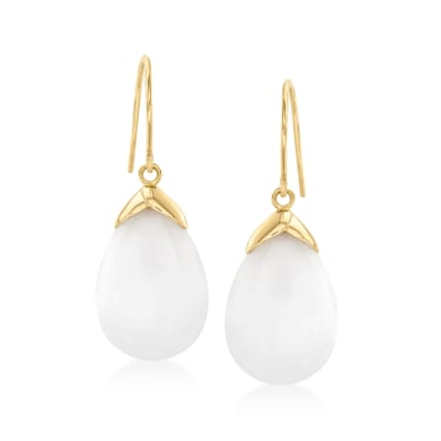 White Jade Drop Earrings with 14kt Yellow Gold