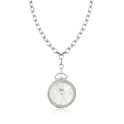 Saint James Swarovski Crystal 30mm Watch Pendant Necklace in Silvertone