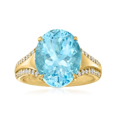 6.90 Carat Aquamarine Ring with .28 ct. t.w. Diamonds in 18kt Yellow Gold