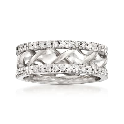 .80 ct. t.w. Diamond Double-Twist Wedding Band in 14kt White Gold