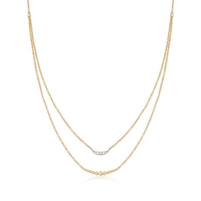 Gabriel Designs Graduated  14kt Yellow Gold Bead Double Layered Necklace with Diamond Accents