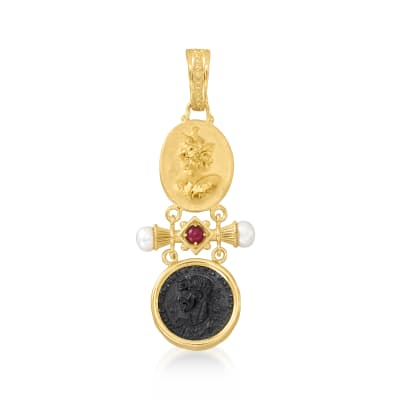 Italian Tagliamonte Black Onyx and .30 Carat Ruby Coin Pendant with Cultured Pearls in 18kt Gold Over Sterling