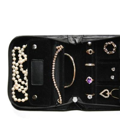 Royce Black Leather Zip-Around Jewelry Case