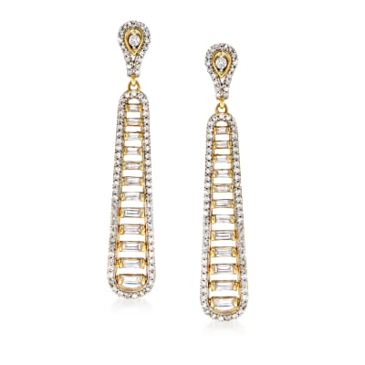 1.00 ct. t.w. Baguette and Round Diamond Drop Earrings in 14kt Yellow Gold