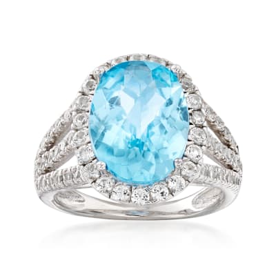 5.80 ct. t.w. Blue and White Topaz Ring in Sterling Silver