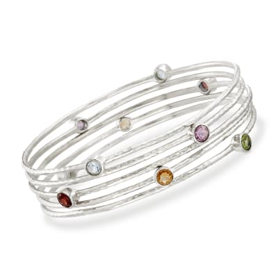 2.30 ct. t.w. Multi-Stone Jewelry Set: Five Bangle Bracelets in Sterling Silver