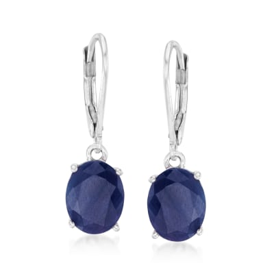 7.00 ct. t.w. Sapphire Drop Earrings in Sterling Silver