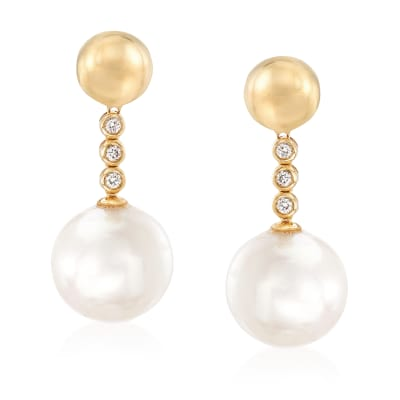 Cultured Pearl and .15 ct. t.w. Diamond Drop Earrings in 14kt Yellow Gold