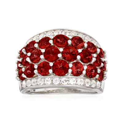4.70 ct. t.w. Garnet and .70 ct. t.w. White Topaz Ring in Sterling Silver