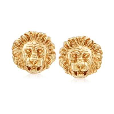 Italian 18kt Yellow Gold Lion Head Clip-On Earrings