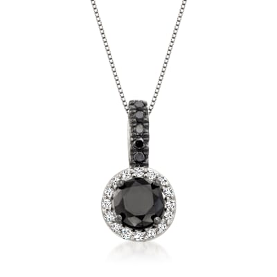 3.00 ct. t.w. Black and White Diamond Pendant Necklace in Sterling Silver