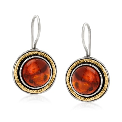 Amber Drop Earrings in Sterling Silver and 14kt Yellow Gold
