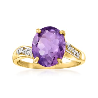 C. 1980 Vintage 2.90 Carat Amethyst Ring with Diamond Accents in 14kt Yellow Gold