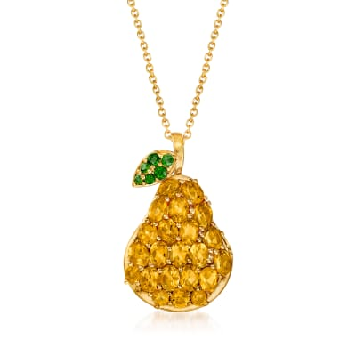 2.98 ct. t.w. Citrine and .20 ct. t.w. Green Chrome Diopside Pear Pendant Necklace in 18kt Gold Over Sterling